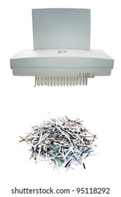 Paper shredder and shred mount isolated on white background