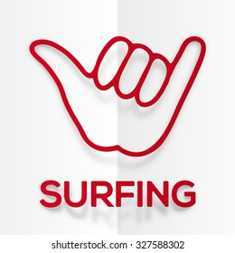 Paper silhouette red surfers shaka symbol with realistic shadow