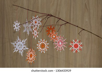 paper snowflakes on a branch