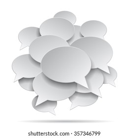 Paper speak bubble shapes in group isolated on white background