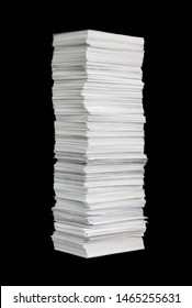 Рuge paper stack isolated on the black background