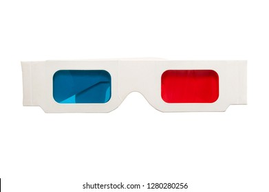 paper stereo glasses isolated on white