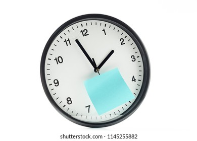 paper stick on clock for notice something with white background