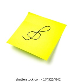 Paper sticker. Stylized image of the treble clef symbol. Isolated sticker with shadow on a white background. Sticky note. A piece of paper for notes. Self-adhesive piece of paper.