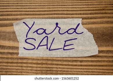 Paper sticker tape tag word Yard Sale