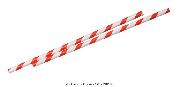 Paper straws pile isolated on white background and texture with clipping path, eco friendly