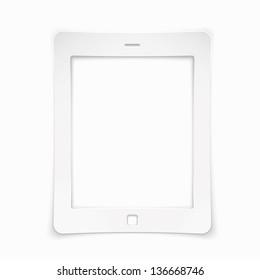 Paper tablet computer sticker. Vector illustration.