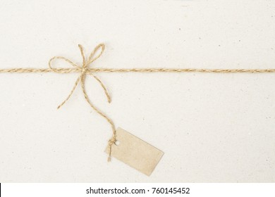 Paper Tag Label and Rope Bow, Present Pricing Decoration with Natural Twine String