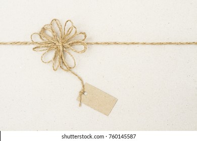 Paper Tag Label and Rope Bow Decoration, Gift Wrapping Paper with Twine String Ribbon