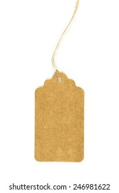 A paper tag with string isolated on white