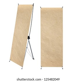 paper texture with roll up banner display , isolated on white background (Save Paths For design work)