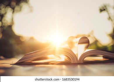 The paper that was folded in the shape of a heart on the book with the backdrop of a sunset