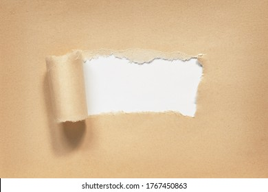 Paper torn. Hole in brown ripped paper on white background