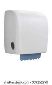 Paper towel dispenser made of white plastic