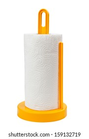 A paper towel holder on a white background