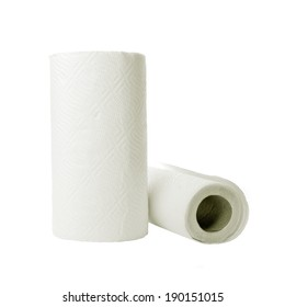 Paper towel rolls on white background. Household cleaning utensil.