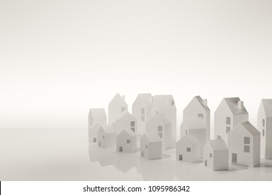 Paper Town. Papercraft House And Papercraft Building. Architecture business concept. Real estate and property concept. purchasing home for living of dream of community lives.