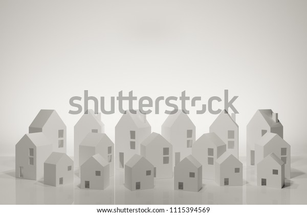 Paper Town Papercraft House Papercraft Building Stock Photo