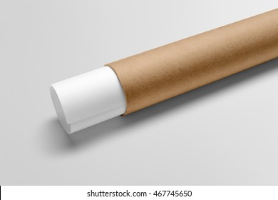 Paper tube mockup scene, blank objects for placing your design. Cardboard paper tube with papers.