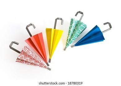 Paper umbrella in different colors