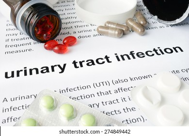 Paper with urinary tract infection and pills. Medical concept.