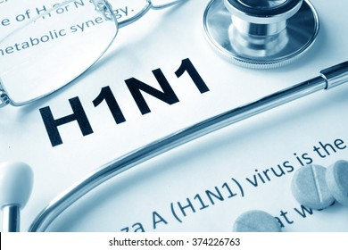 Paper with words  H1N1 diseases and stethoscope.
