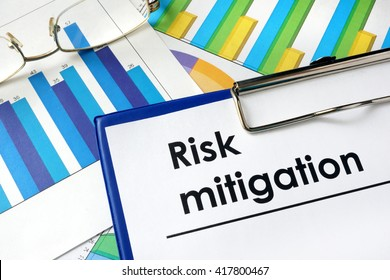 Paper with words Risk mitigation and charts.