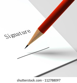 "paper with the words ""signature"" and pencil"