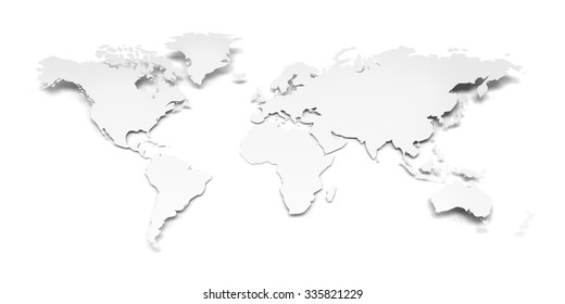 Paper world map against white background, 3d render