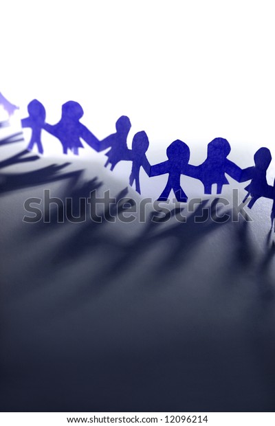 Paper-chain people holding hands