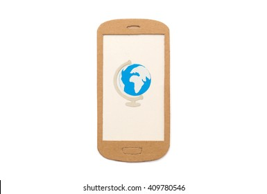 Paper-cut globe on smartphone - mobile travel app image