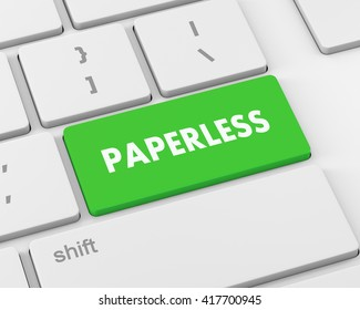 Paperless word on  keyboard button, 3d rendering