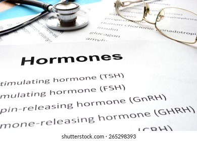 Papers with hormones list and word hormones. Medical concept.