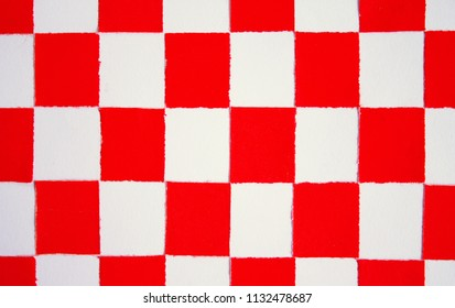 Paperwork, red and white, composed as a checkered flag representing the flag of Croatia.
