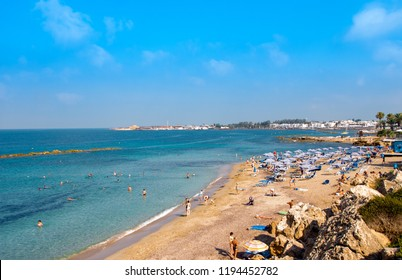 Paphos, Cyprus - July 16,2017: Municipal beach SODAP or Vrisoudia A Beach, one of sand beach in Paphos