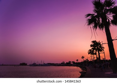 PAPHOS, CYPRUS - MAY 18 : Embankment in center of Paphos at sunset, Cyprus on 18 May, 2013.