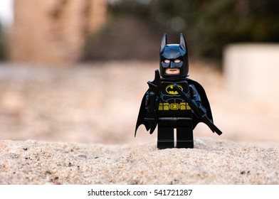 Paphos, Cyprus - October 18, 2016 Lego Batman minifigure stay outdoors.