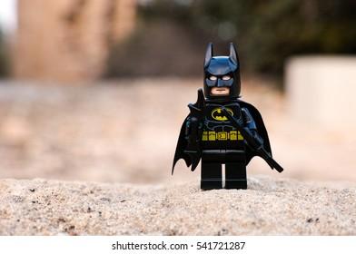 Paphos, Cyprus - October 18, 2016 Lego Batman minifigure stay outdoors.