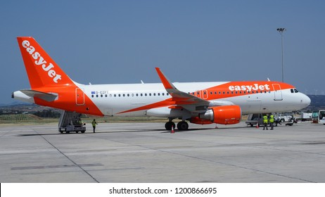 Paphos International Airport, Cyprus - 04 27 2017: easyJet Airlines. British cheap airline company. Airplane at the airport. Airbus A320-214. easyJet G-EZPT