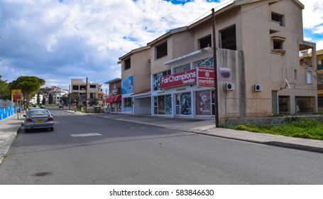 PAPHOS/CYPRUS - FEBRUARY 14 2017: Streets and buildings of Paphos City. European Capital of Culture