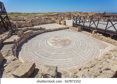 PAPHOS,CYPRUS - MARCH 31, 2016: A fragment of ancient mosaic, Archeological Park in Kato Paphos. UNESCO Heritage Site.