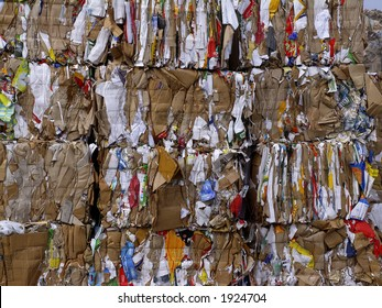 Papier and cardboard pressed in to bales for later recycling. Jutland, Denmark.