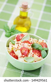 pappardelle pasta with cherry tomato and basil - food and drink