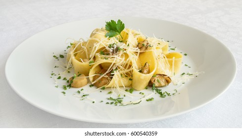 pappardelle with porcino decorated with parsley and cheese