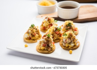 Papri OR Papdi chat  Also known as Sev Batata Puri - popular indian snacks or street food, selective focus