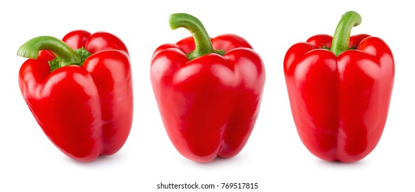 Paprika. Pepper red. Bell pepper isolated. Sweet red peppers. With clipping path. Full depth of field. - Shutterstock ID 769517815