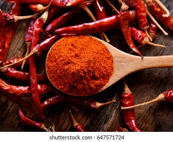 Paprika powder in spoon on table wooden background