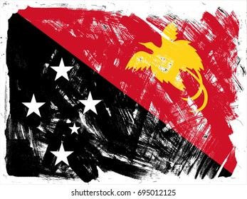 Papua New Guinea flag grunge background. Background for design in country flag