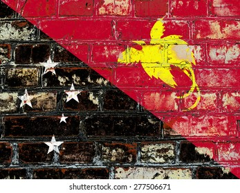 Papua New Guinea flag painted on old brick wall texture background