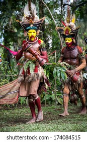 PAPUA, NEW GUINEA - OCTOBER 30: The men of the Huli tribe in Tari area of Papua New Guinea in traditional clothes and face paint on October 30, 2013.